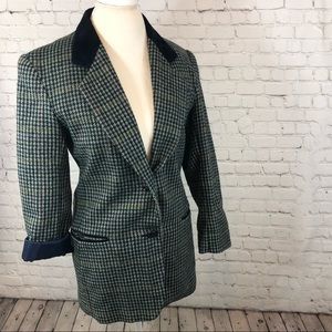 VTG Charles Klein Houndstooth Plaid Blazer Jacket
